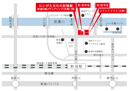 新潟日報メディアシップのマップ